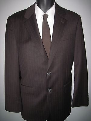 "40R Dark brown- pinstripe-2 button ""Ralph Lauren"" 100% wool suit - 32W x 29L"