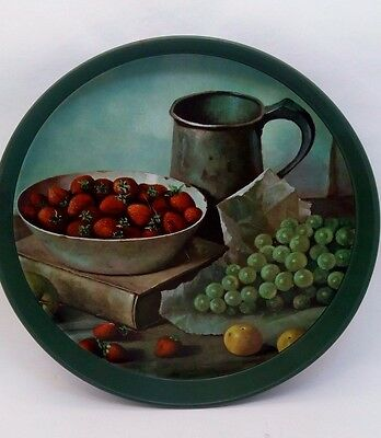 """Vintage 1950's Carver 12"""" Fruitcake Tin Green Serving Tray Strawberries Grapes"""
