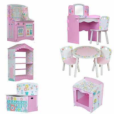 Kids Bedroom Girls Furniture Children's Toy Chest Bookcase Dressing Table Chair