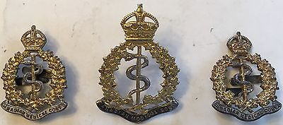 WW1 CEF Officers Canadian Medical Corps Cap Badge and collar set