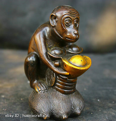 Chinese Fengshui Old Antique Copper Brass Statue Lucky Money Monkey Sculpture