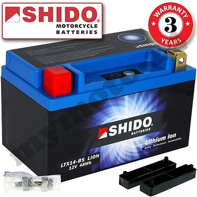 Battery Shido Lithium LTX14-BS / YTX14-BS, 12V/12AH (dimensions: 150x87x145)