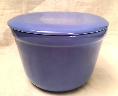 """Vintage Universal Pottery OXFORD WARE BLUE MIXING BOWL with LID 4 """"x 5.5"""""""""""