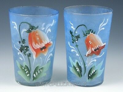 Antique Victorian PAIR TUMBLERS GLASSES HAND PAINTED ENAMELED POPPY FLOWERS Set