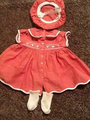 American Girl Bitty Baby Valentine Sweetheart Red Dress Hat Heart Clothes AG