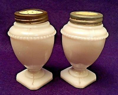 Antique Victorian BEADED URN MILK GLASS SALT & PEPPER SHAKERS Original Tops EAPG