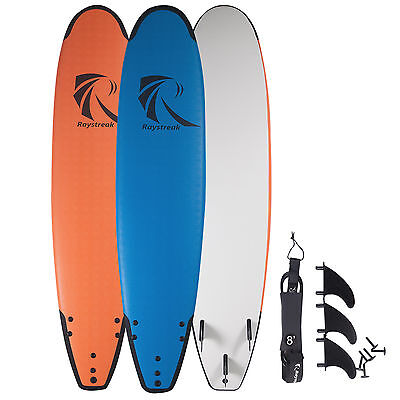 8'2 Soft Top Epoxy Surfboard Foam Board Longboard Funboard with Leashes & Fins