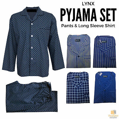LYNX Pyjamas PJs SET Mens Long Sleeve Shirt & Pants Cotton Rich Pajamas BR010