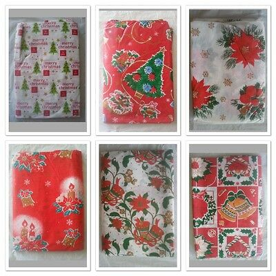 Xmas Christmas Flannel Back Table Cloth 60x108 inch    (152cm x 274cm)