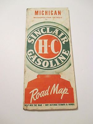 Vintage SINCLAIR MICHIGAN Oil Gas Service Station Road Map~1940 Census