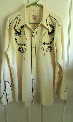 Vintage H Bar C California Ranchwear Pearl Snap Embroidered Western Shirt L- Xl
