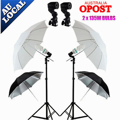 Photography Studio Continuous Umbrella Lighting Photo Reflector Light Stand Set