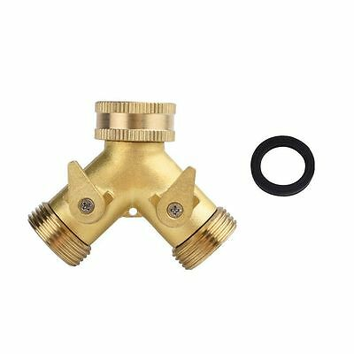 Brass 2 Way Tap Manifold Hose Splitter with Individual On/ Off Valves