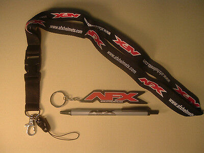 Afx Helmets Key Chain, Lanyard, & Pen 3 Item Gift Set New