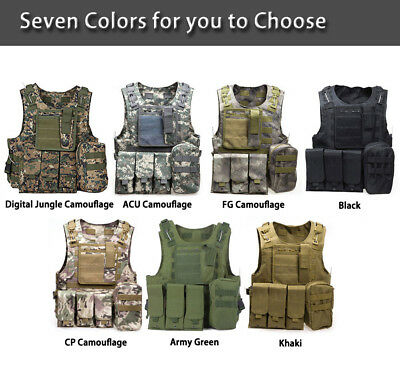 Hunting Tactical Military Molle Waistcoat Combat Assault Plate Carrier Vest US