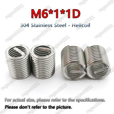 50pcs M6x1.0x1D Metric Helicoil Screw Thread Wire Inserts 304 Stainless Steel