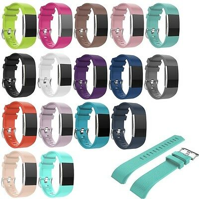Soft Silicone Wrist Strap Watchband For Fitbit Charge 2 Replacement Watch Band