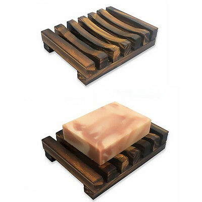 1Pcs Wooden Bath Soap Dishes Storage Bathroom Tray Soap Holder Kitchen Charcoal