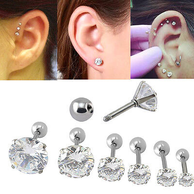 1x CZ Prong Tragus Cartilage Piercing Stud Ohrring Ear Ring Edelstahl 3 farbe