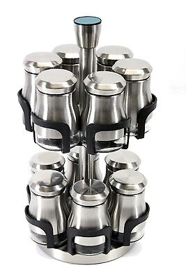 Spice Rack with 12 Jars Stainless Steel with Bottle Revolving Metallic CAROUSEL-