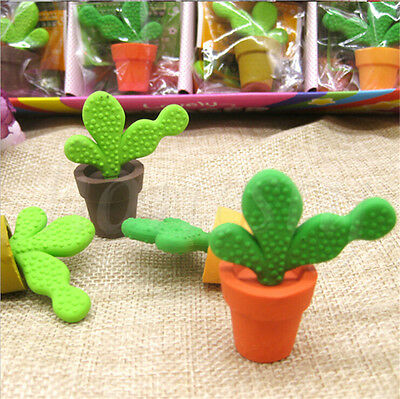 2X Funny Cactus Rubber Pencil Eraser Novelty Student kids Stationery Gift