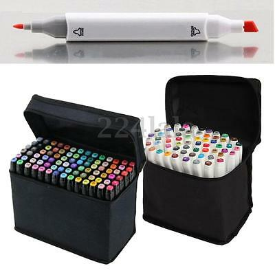 60/80Pcs SET Alcohol Graphic Art Tip Pen Marker Broad Fine Point Black and Whit