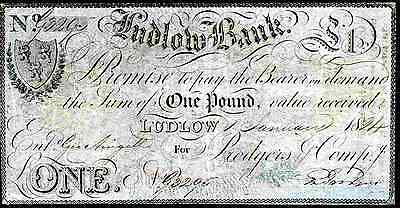 Ludlow Bank, One Pound, Issued, 1-1-1824, pressed, Very Good.