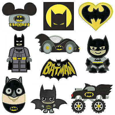 BATMAN COLLECTION 1 * Machine Applique Patterns 10 Designs,4 Sizes