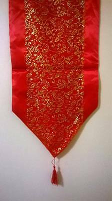 Red and Gold Christmas Holly Table Runner
