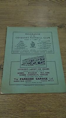 Coventry v Guy's Hospital 1950 Rugby Union Programme