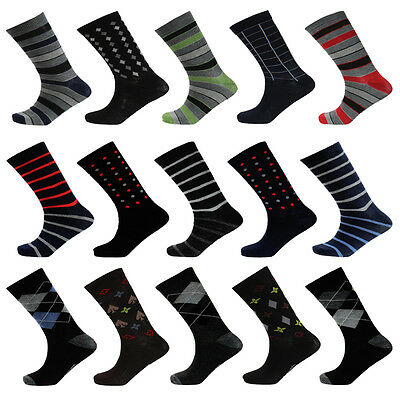 Hoi Polloi Mens Patterned Cotton Rich Boys Designer Everyday Smart Casual Socks