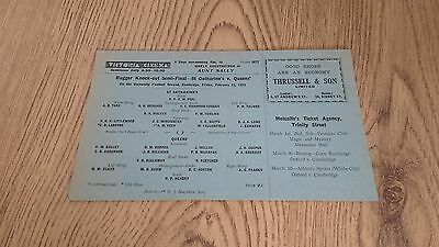 St Catherines v Queens 1933 Cambridge Uni K-O S-Final Rugby Union Programme