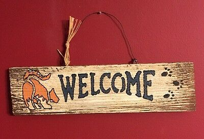 Vintage Welcome Sign With Orange Tabby Cat Distressed Wood Folk Art