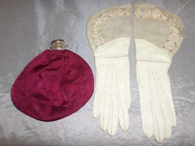 *Antique ladies wristlet purse bag and glove set -with expanding bottleneck top*