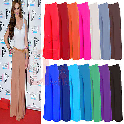 New Womens Ladies Palazzo Plain Flared Wide Leg Pants Leggings Trousers PlusSize