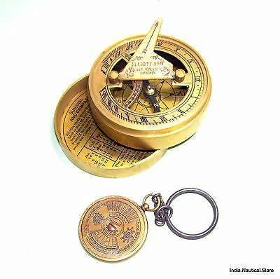 Vintage Type Brass Sundail Compass The Marry Rose 1511-1545 & Calander Keychain