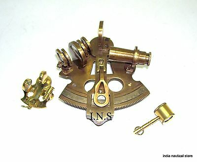 Antique vintage Navigation Working Brass Reproduction Sextant 3'' Magnifier Gift