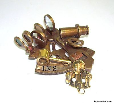 "Vintage Style Brass Sextant 3"" Navigation Working Reproduction Magnifier Keyring"
