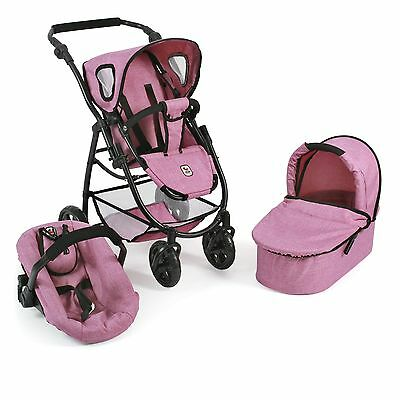 Bayer Chic 2000 3 in 1 Kombi Puppenwagen Emotion All In Jeans pink TOP
