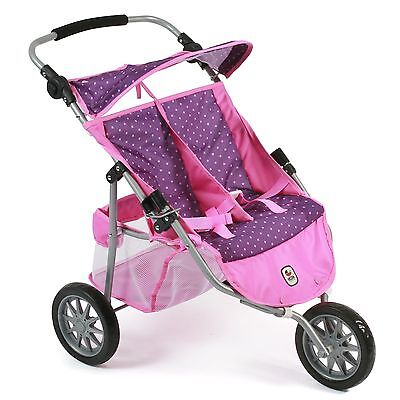 Bayer Chic 2000 Puppen Zwillings-Jogger Dots Purple-Pink TOP