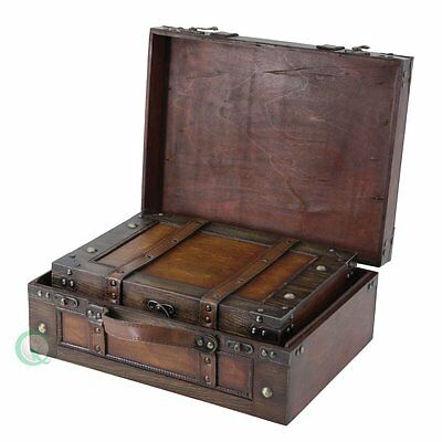 Antique Old Style Wood Chest Treasure Box Case Storage Suitcase with Straps,Set2