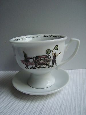 Hendricks Gin Tea Cup and Saucer Strong Man Motif Charles Dickens Quotation