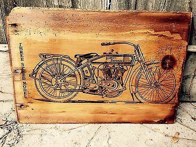 Harley Davidson Model F J JD Motorcycle Wooden Picture Home Decor Wall Decor Art
