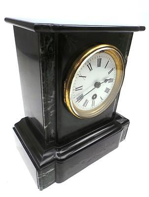 Awesome Victorian Antique 8 Day French Marble & Slate Timepiece Mantel Clock
