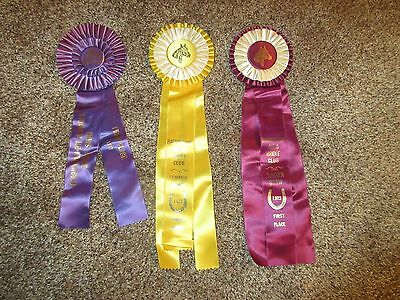 Antique/vintage/old Lot Of 3 Horse Show Award Ribbons 1970's
