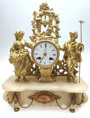 Beautiful Antique 8 Day French White Alabaster & Spelter Mantel Clock Set C1890