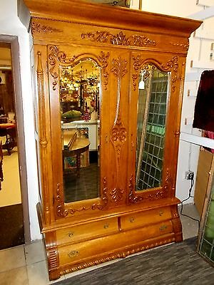 Large ANTIQUE Oak ARMOIRE-Exceptional Circa 1890 - Beautiful Mirrors / Carvings