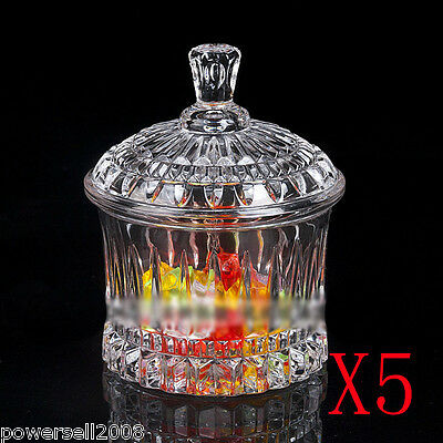 5X 225ML Exquisite Lovely Crystal Glass Storage Tank Sugar Pot Multi-Purpose NN