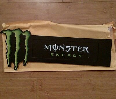 """Monster Energy Double Sided Metal Sign / display 16.5""""X 6.5"""" with suction cups !"""