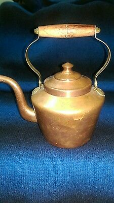 Vintage Italian Brass Copper Tea Kettle Pot Wooden Handle High Quality ITALY